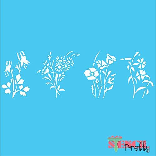 (Flowers Stencil - Columbine Magnolia Daisy Petunia DIY Crafting - M (28