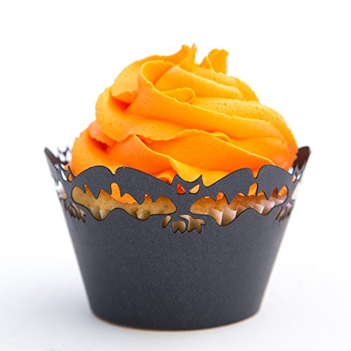 Cupcake Wrappers Scary Bats x50pcs. 3 styles to choose in shimmering black (Scary Bats)