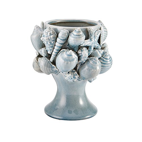 Elements Aqua Seashell Ceramic Vase, 9×10-Inch Review