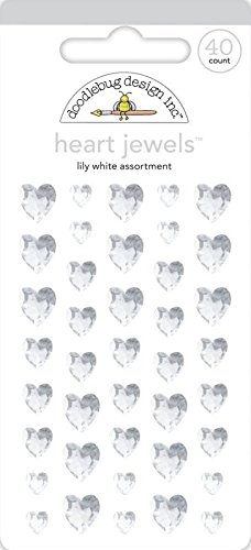 DOODLEBUG Heart Adhesive Jewels, 6/8/10mm, Lily White, 40-Pack