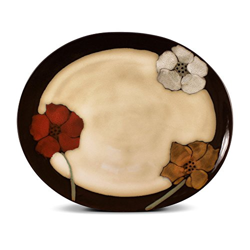Pfaltzgraff Painted Poppies Oval Serving Platter, 14-Inch