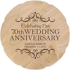 Personalized 70th Wedding Anniversary Platter Gift For Couple Custom Happy Seventieth