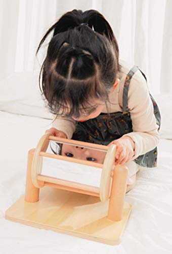 KINGDOM SECRET Roly Poly Mirror Drum and Wooden Stand. Visual Sensory Toy for SEN and Autism