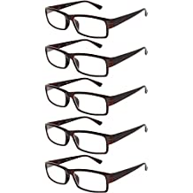 Readers 5 Pack of Elegant Womens Mens Reading Glasses with Beautiful Patterns for Ladies and Gentlemens Deluxe Spring Hinge Stylish Look 180 Day Guarantee