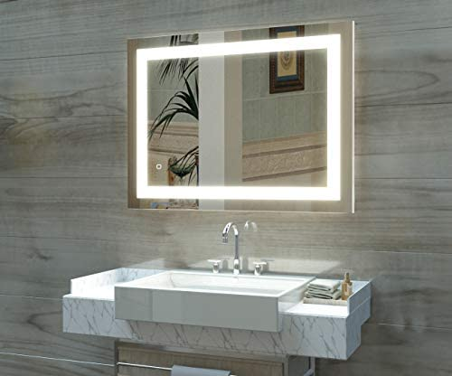 HAUSCHEN 36 x 28 inch LED Lighted Bathroom Wall Mounted Mirror with 5500K High Lumen CRI 90 Cold White Lights and Anti Fog and Dimmable Memory Touch Button IP44 Waterproof Vertical Horizontal