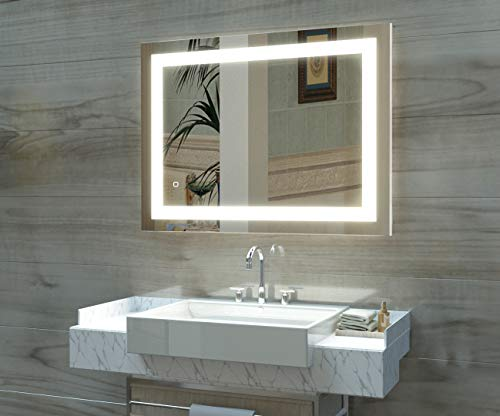 HAUSCHEN 36x28 inch LED Lighted Bathroom Wall Mounted Mirror with High Lumen+CRI>90 Adjustable Warm White/Daylight Lights+Anti Fog+Dimmable Memory Touch Button+IP44 Waterproof+Vertical & Horizontal