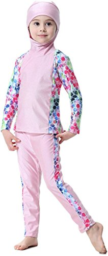 Ababalaya Muslim Girls 2-Piece Full Cover Color Block Conservative Hooded Burkini Swimsuit,Pink,Fits Girls' Height 4'3'' by Ababalaya