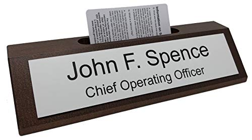 Personalized Business Desk Name Plate with Card Holder - Made in America (Walnut w/White - Black Text)