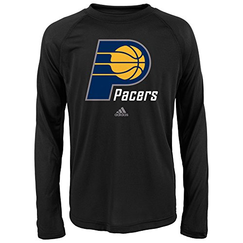 fan products of NBA Indiana Pacers Boys Youth Full Primary Logo Performance Long Sleeve Tee, Large (14-16), Black