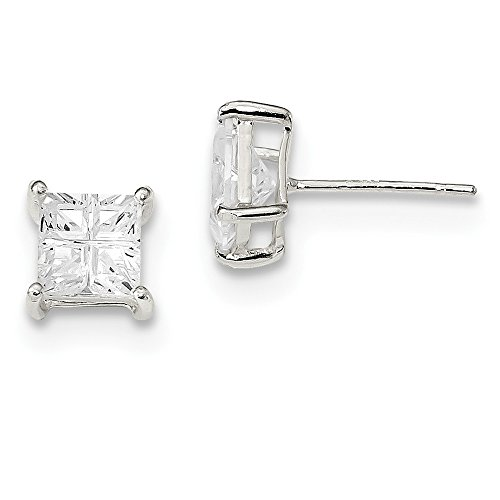 Sterling Silver Laser-cut Post Earrings Basket setting 6mm Square Cubic Zirconia Basket Set Stud Earrings