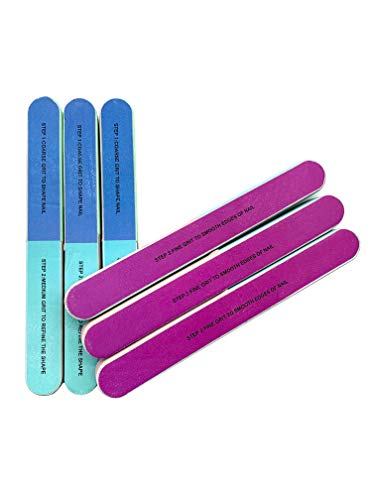Nail File and Nail Buffer 7 Inches Long 4 Fingernail Files in 1 Professional Care Manicure Tools and Cosmetic Manicure 7 Professional Steps 6 Pack