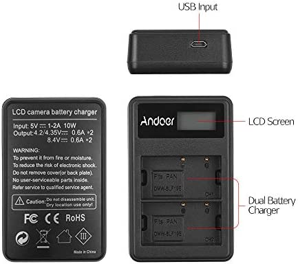 Andoer LCD2-BLF19 LCD Dual Camera Battery Charger for