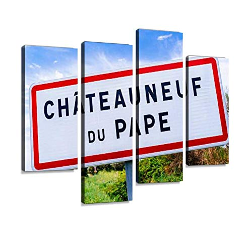 Road Sign for Chateauneuf-du-Pape Canvas Wall Art Hanging Paintings Modern Artwork Abstract Picture Prints Home Decoration Gift Unique Designed Framed 4 Panel