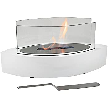 Sunnydaze Barco Ventless Tabletop Bio Ethanol Fireplace, White