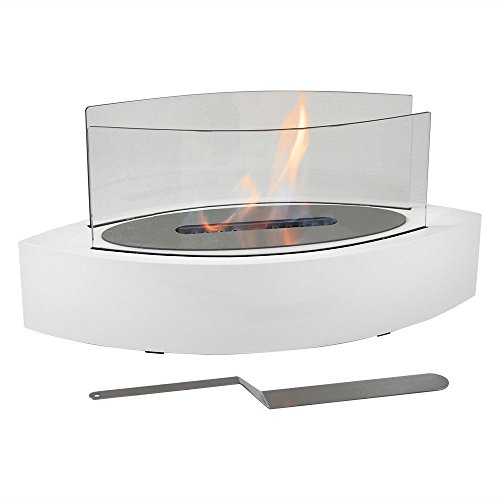 Sunnydaze Barco Tabletop Fireplace, Indoor Ventless Bio Ethanol Fire Pit, Long Lasting Burn Time, White