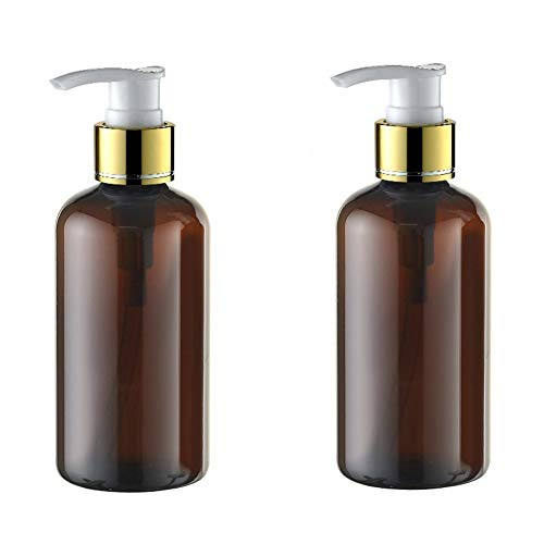 0.5 Ounce Bath Shower - 220ml/7.4oz Refillable Empty Brown Plastic Pump Bottles Jars Set with Pump Tops for Makeup Cosmetic Bath Shower Toiletries Liquid Containers Leak Proof Portable Travel Accessories Pack of 2
