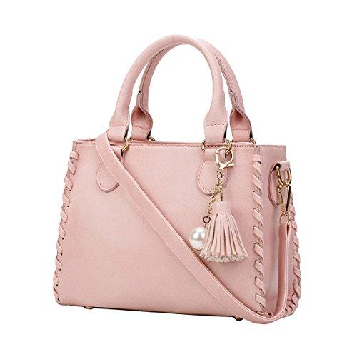 Yy.f Nueva Ola De Bolsos De Moda Bolsa De Hombro De La Señora Dulce Salvaje Bolso Tejido Cuadrado Pequeño Bolso Diagonal Multicolor Pink