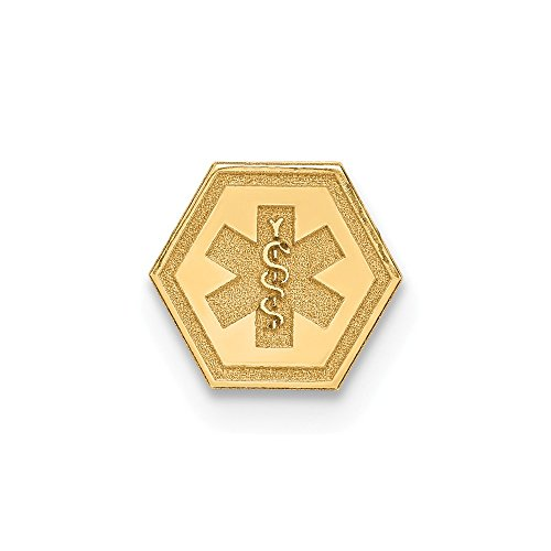 Solid 14k Yellow Gold Non-enameled Attachable Medical Emblem Pendant Charm (7mm x 6mm)