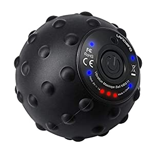 LANDWIND Electric Massage Roller, Yoga Fitness Vibrating Massage Ball, 4-Modes, Recharge with AC Adaptor, Pain Relief, Release Muscle Tension for Neck, Back, Waist, Arm, Thigh, Hip, Calf, Foot (Black)