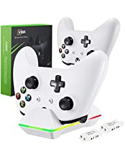 Xbox One Controller Charger, CVIDA Dual Xbox One/One S/One Elite Charging Station with 2 x 800mAh Rechargeable Battery Packs for Two Wireless Controllers Charge Kit– White