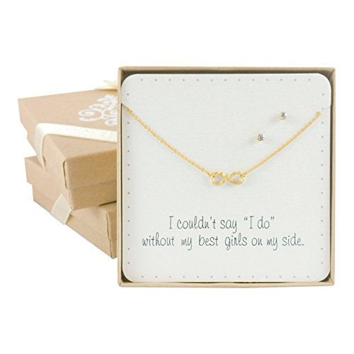 Bridesmaid Gift Sets - Dainty Infiniti Necklace & Earring Sets, (16.5