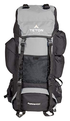 TETON Sports Explorer 4000 Internal Frame Backpack; High-Performance Backpack for Backpacking, Hiking, Camping; Metallic Silver (Renewed) ()