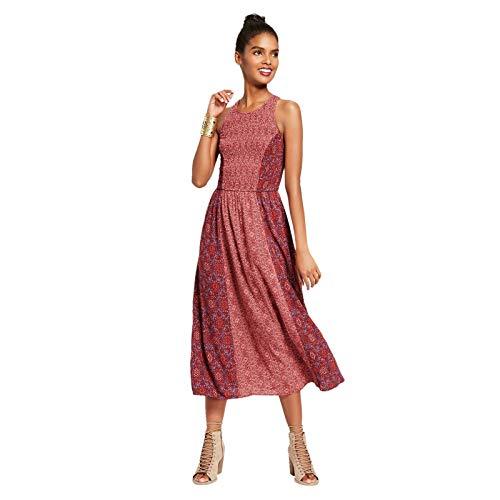 (Xhilaration Women's High Neck Sleeveless Smocked Midi Dress Cranberry S)