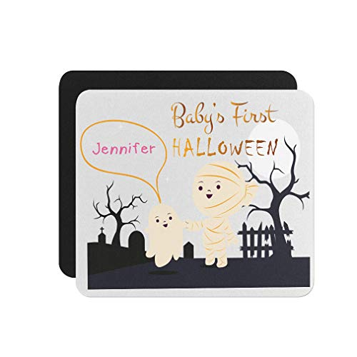 Custom Text Personalized First Halloween Mummy Graveyard Mouse Pad 9.25