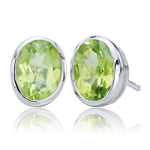 - Luxurious Natural Peridot Gemstone 10K White Gold (5.25 cttw) Post Stud Earrings