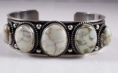 Navajo Sterling Silver Rare Carico Lake Row Cuff Bracelet Signed Andy ()