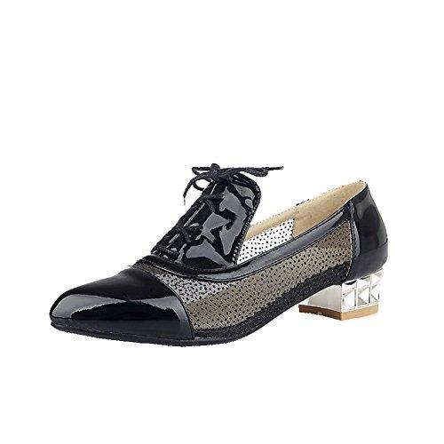 AgooLar Damen Schnüren Blend-Materialien Spitz Zehe Niedriger Absatz Rein Pumps Schuhe Schwarz