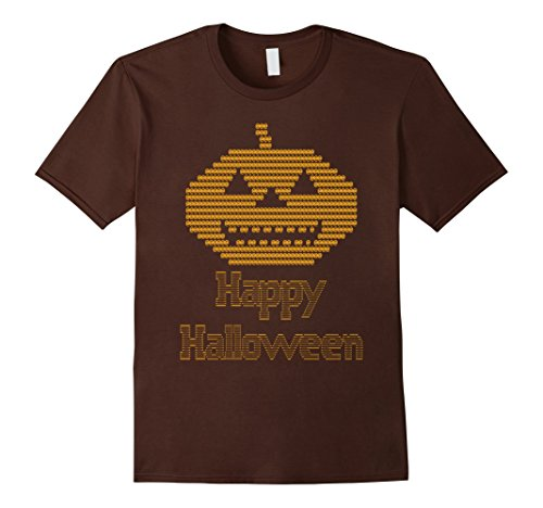 Mens ASCII Art Jack-O-Lantern Pumpkin Happy Halloween TShirt Small (Ascii Art Halloween)