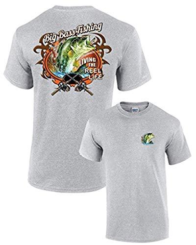(Fishing T-Shirt Big Bass Fishing-Sportsgray-Small)