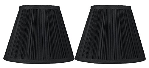 Urbanest Set of 2 Pleated Softback Lamp Shade, Faux Silk, 5-inch by 9-inch by 7-inch, Black, Spider Fitter