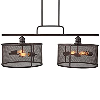 "Stone & Beam Hobbs Double Pendant With Bulbs, 24"" to 66""H, Oil-Rubbed Bronze"