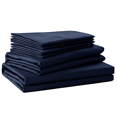 - Sfoothome Bed Sheet Set with 4 Sheet Clips - Deep Pockets - 2 Extra Pillow Cases - Wrinkle,Fade,Stain Resistant - 6 Pieces (Full,Navy Blue)