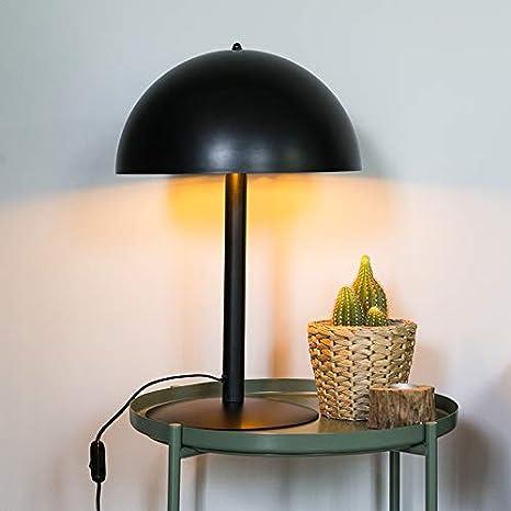 QAZQA Moderno Lámpara de mesa moderna redonda negra dorada ...