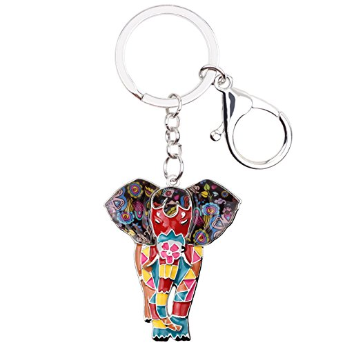 Elephant Key - BONSNY Enamel Metal Chain Jungle Elephant Key Chains For Women Car Purse Handbag Charms (Multicoloured)