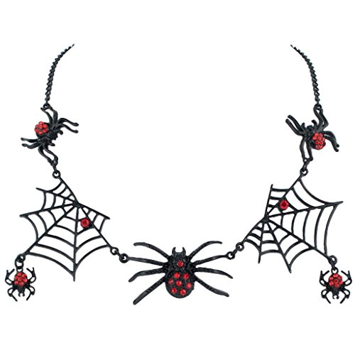 EVER FAITH® Halloween Tarantula Spider Web Necklace Red Austrian Crystal Black-Tone (Spiderweb Rhinestone Necklace)