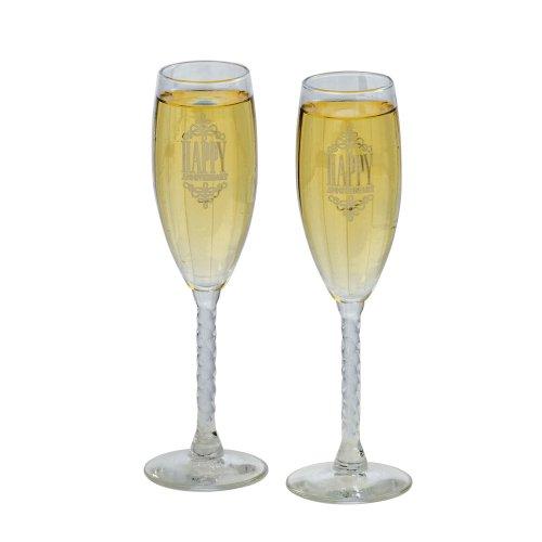 Jamie Lynn Wedding Anniversary Collection, Happy Anniversary Toasting Flutes, Set of 2