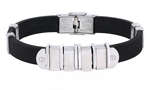 The Jewelbox Black Surgical Stainless Steel Rubber Bracelet For Men