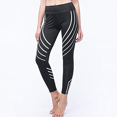 CROSS1946 Sexy Women's Striped Yoga Pants Power Flex Leggings Gym Workout Stretch Trousers Black