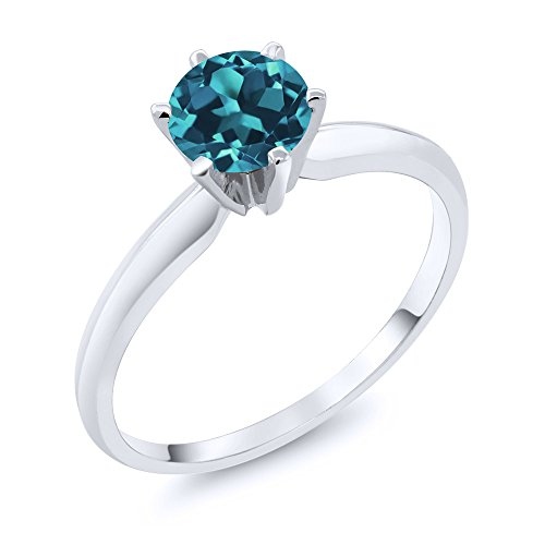14K White Gold London Blue Topaz Solitaire Ring (0.75 Ct; Gemstone Birthstone, Available in size 5, 6, 7, 8, 9)