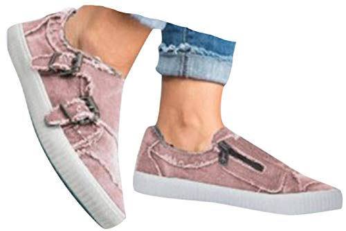 69617c8338885 Fainosmny Summer Flat Single Shoes Womens Peas Shoes Casual Zipper Beach  Shoes Plus Size Canvas Shoes Wild Sprts Sneakers Pink