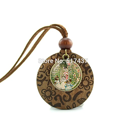 Pretty Lee New Design Long Wood Necklaces Lady Cat Pendant Cat Jewelry Girls Glass Cabochon Necklace