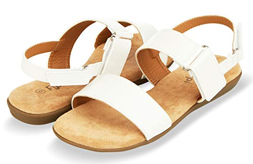 Floopi Sandals for Women | Cute, Open Toe, Summer Sandals| Comfy, Adjustable Velcro, Faux Leather Ankle Straps W/Flat Sole, Memory Foam Insole (6, White-510) ()
