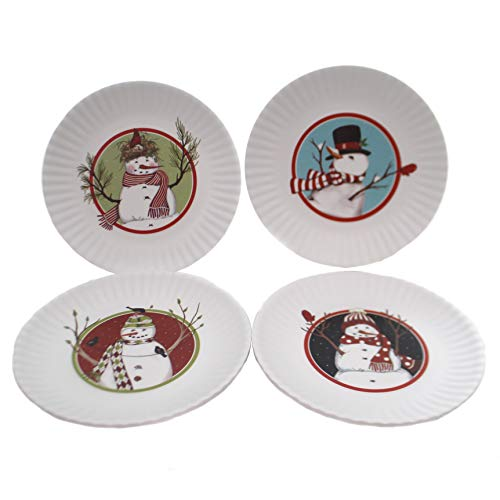 Snowmen 7.5-inch Melamine Plates, Set of 4 (Melamine Kids Christmas For Plates)