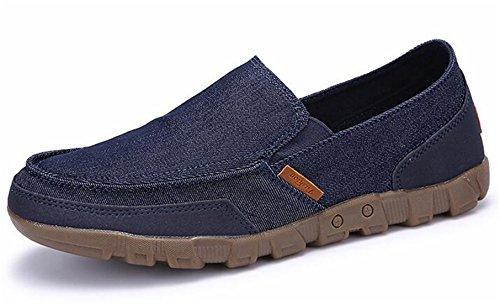 Ppxid Mens Canvas Halka På Loafers Skor (stor Storlek Finns) Blå