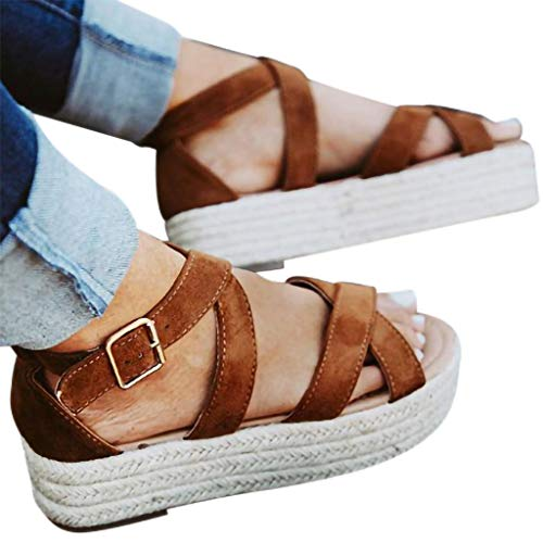 Xinantime Summer Roman Straw Vintage Sandals Flat Waterproof Single Shoes Beach Outdoor Shoes -