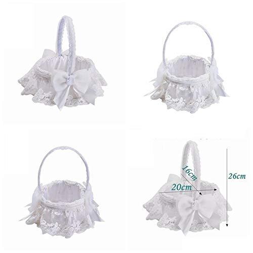 Agordo Wedding Flower Girl Basket Bowknot Rhinestone Lace Decor Satin/Burlap by Agordo (Image #3)